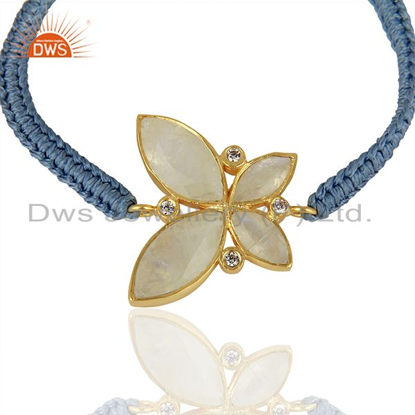 Exporter CZ Rainbow Moonstone Gold Plated Fashion Bracelet Jewelry Supplier