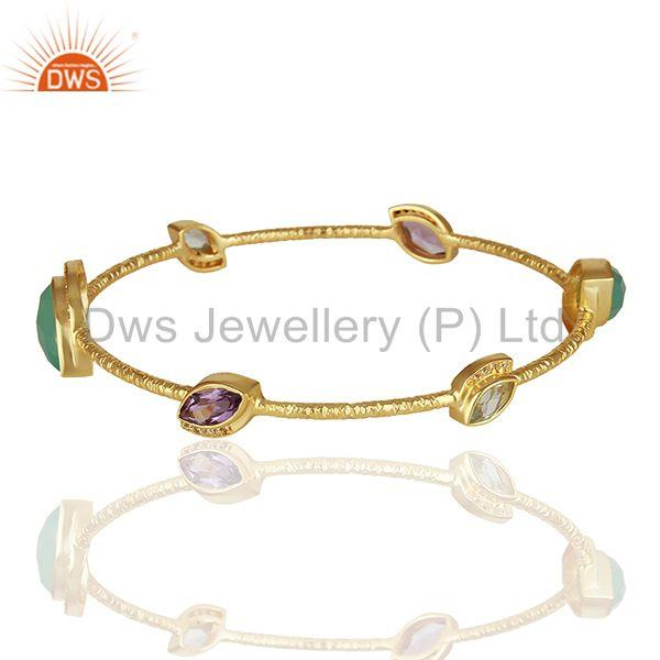 Supplier of Chalcedony and cz gemstone gold plated silver bangle manufacturer
