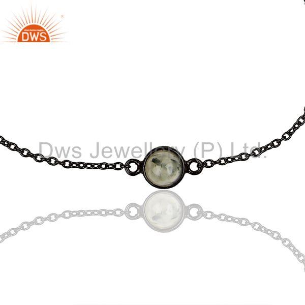 Exporter Black Rutile Gemstone 925 Silver Black Rhodium Plated Chain Bracelet