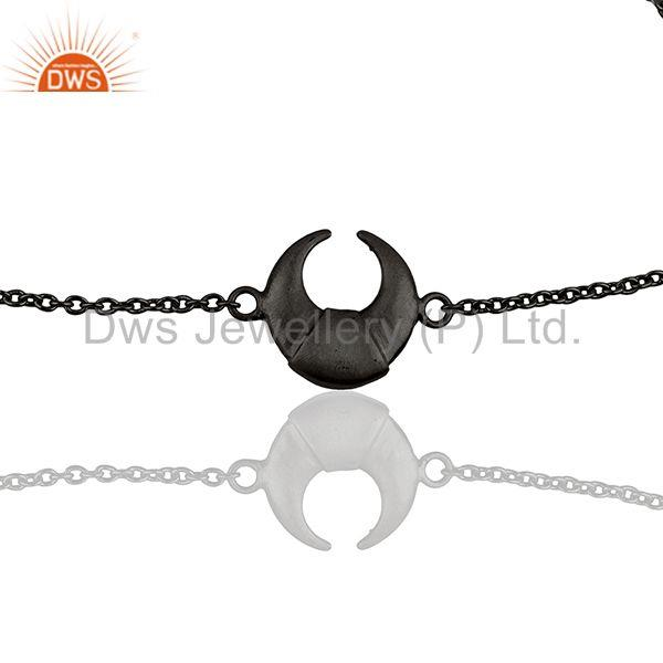 Exporter The Crescent Moon 92.5 Sterling Silver Black Rhodium Plated Chain Bracelet