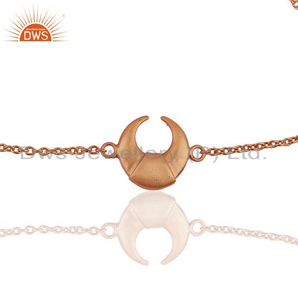 Exporter Moon Charm 925 Sterling Silver Rose Gold Plated Chain Bracelet Jewelry