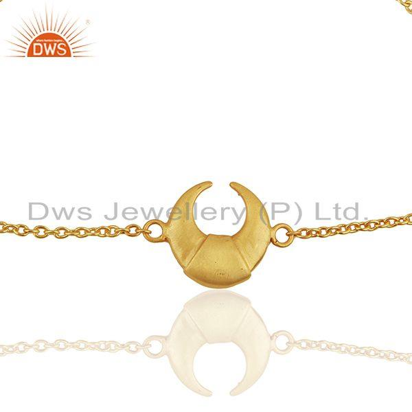 Exporter Moon Design Charm 92.5 Sterling Silver Gold Plated Chain And Link Bracelet