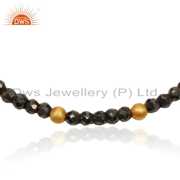Exporter Pyrite Gemstone 925 Silver Gold Plated Beaded Bracelet For Womens Jewelry