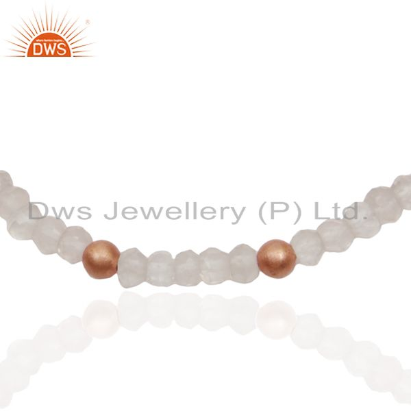 Exporter Rose Quartz Gemstone 925 Silver Rose Gold Plated Beaded Bracelet Wholesale