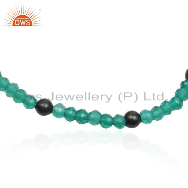 Exporter Green Onyx Gemstone Black Rhodium Plated 925 Silver Bracelet Manufacturers