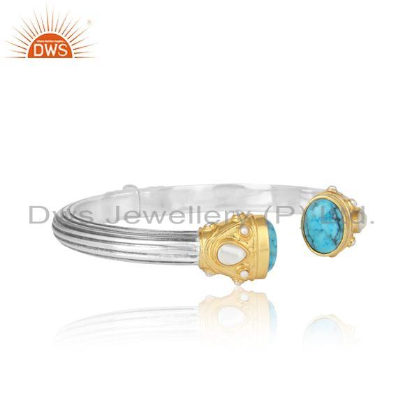 Textured bold cuff in gold oxi on silver with turquoise and pearl