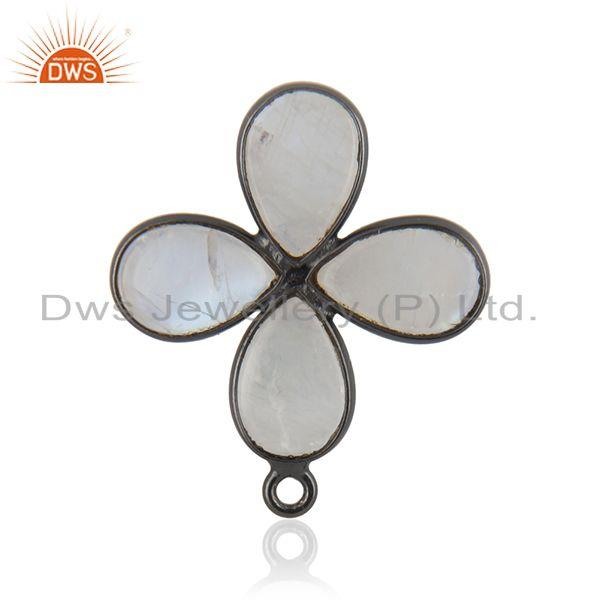 Exporter Rainbow Moonstone Black Brass Floral Design Jewelry Findings Supplier