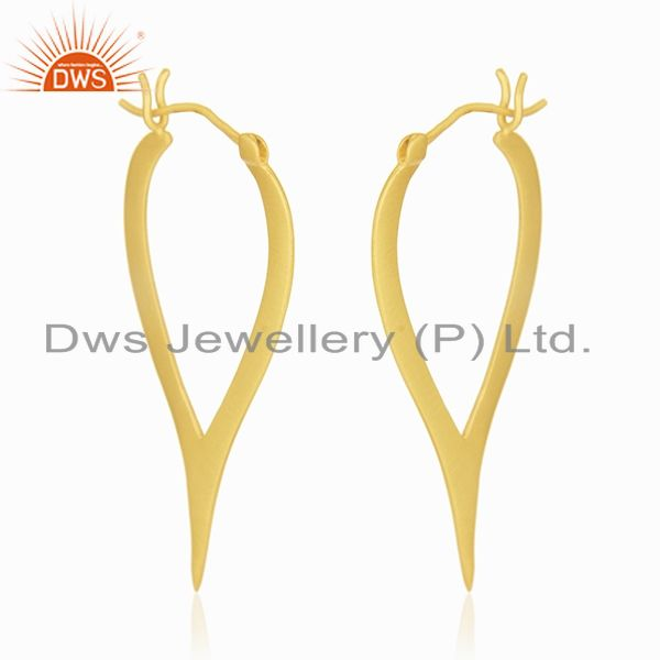 Exporter 18K Yellow Gold Plated Sterling Silver Cut Out Design Hoop Earrings