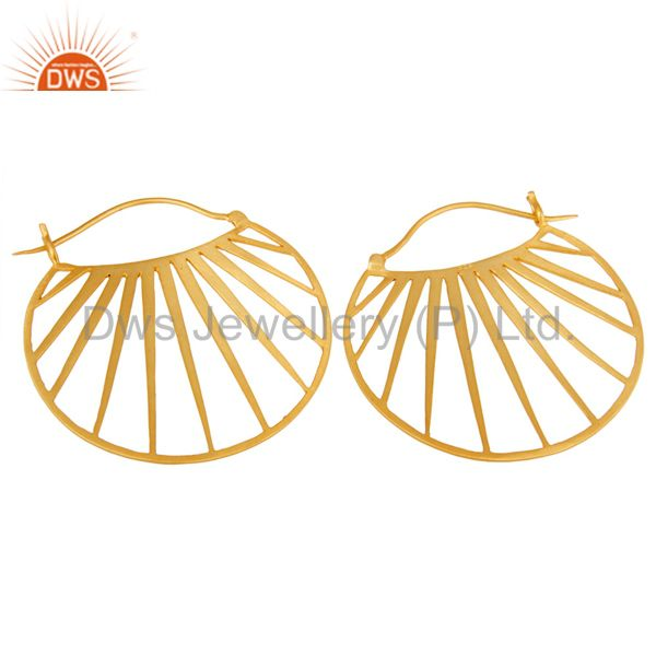 Exporter 18K Yellow Gold Plated Traditional Handmade Art Deco Wide Brass Earring Jewelry