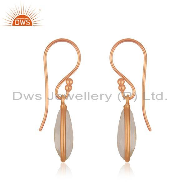 Exporter Rose Gold Plated 925 Silver Rose Gold Plated Crystal Quartz Gemstone Earring