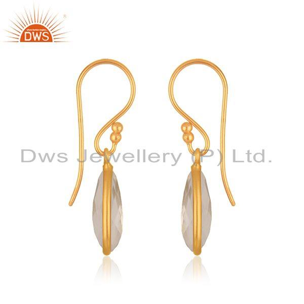 Exporter Crystal Quartz Gold Plated 925 Silver Gemstone Drop Earring Manufacturer India