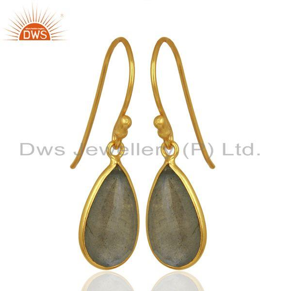Exporter Labradorite Gemstone Gold Plated Designer Silver Earrings Jewelry