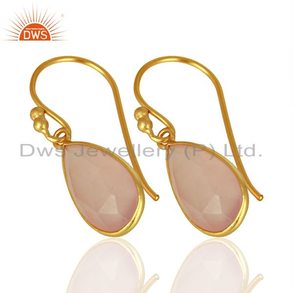 Exporter Rose Chalcedony Gemstone Earrings Gold Plated 925 Silver Earrings