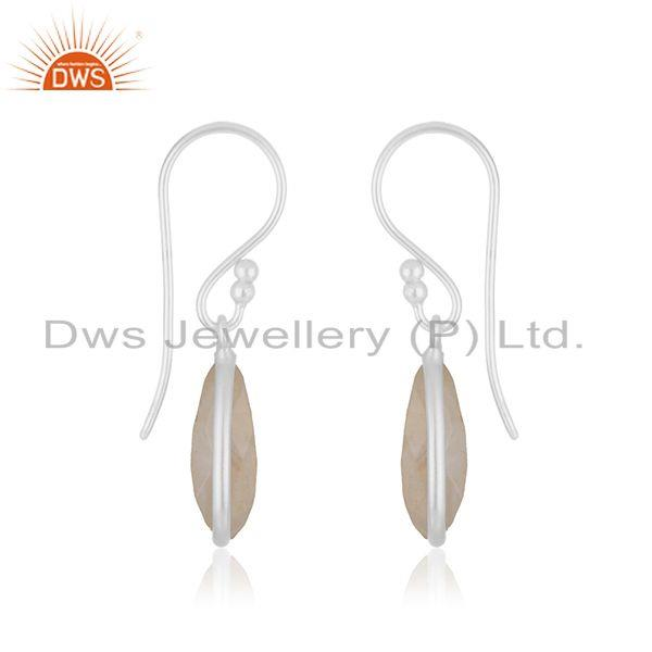 Exporter Rainbow Moonstone Fine Sterling Silver Drop Earrings Manufacturer India