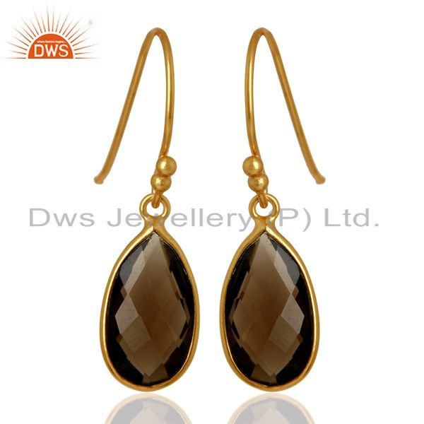 Exporter Indian Gold Plated Silver Smoky Quartz Gemstone Earrings Jewelry