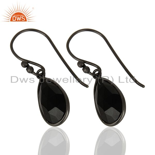 Exporter Natural Black Onyx Gemstone Black Rhodium Plated Earring Manufacturer