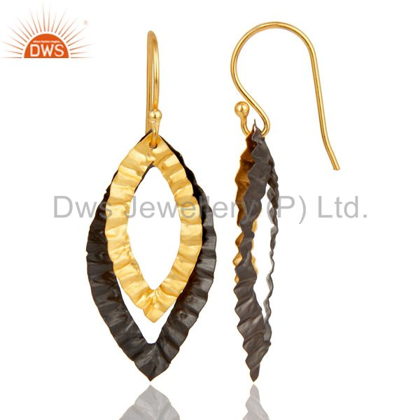 Exporter 22K Yellow Gold Plated Brass Hammered Open Marquise Dangle Earrings