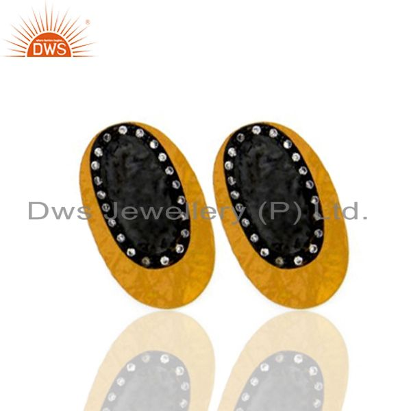 Exporter 22K Yellow Gold Plated Brass Cubic Zirconia Womens Fashion Stud Earrings