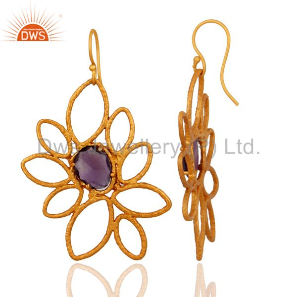 Exporter Handmade Natural Amethyst Gemstone 18-Karat Gold Plated Designer Earrings