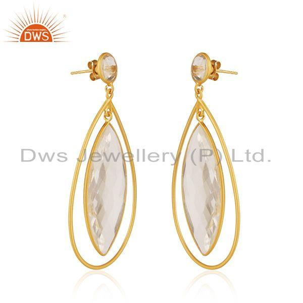 Exporter 18K Yellow Gold Plated Natural Quartz Crystal Sterling Silver Tear Drop Earrings