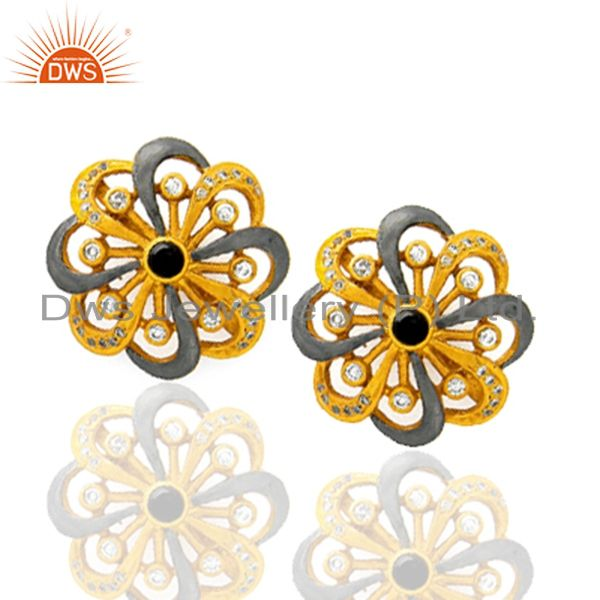 Exporter 18K Yellow Gold Plated Brass Smoky Quartz And CZ Designer Stud Earrings