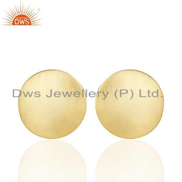 Exporter 18K Yellow Gold Plated Sterling Silver Hammered Disc Designer Stud Earrings
