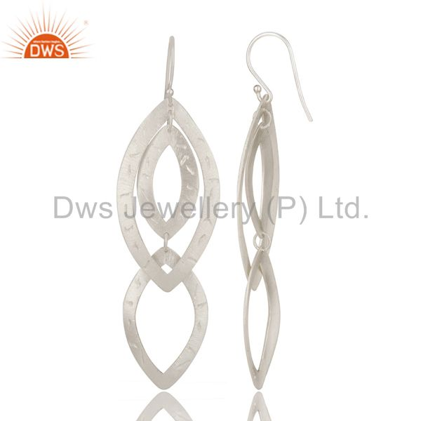 Exporter Handmade Solid Sterling Silver Hammered Multi Triangles Long Drop Earrings