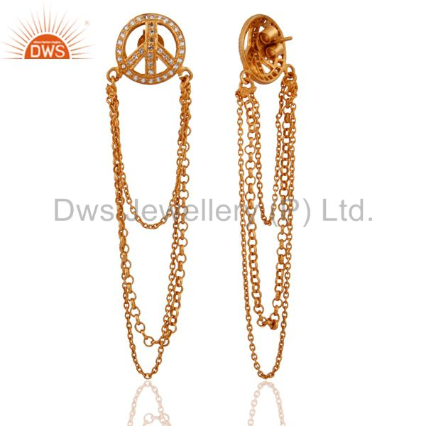 Suppliers 18K Yellow Gold Plated Sterling Silver White Topaz Chain Layered Dangle Earrings