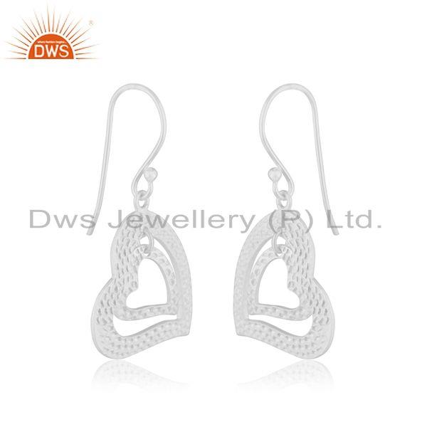 Wholesalers 22K Yellow Gold Plated Sterling Silver Double Heart Dangle Earrings