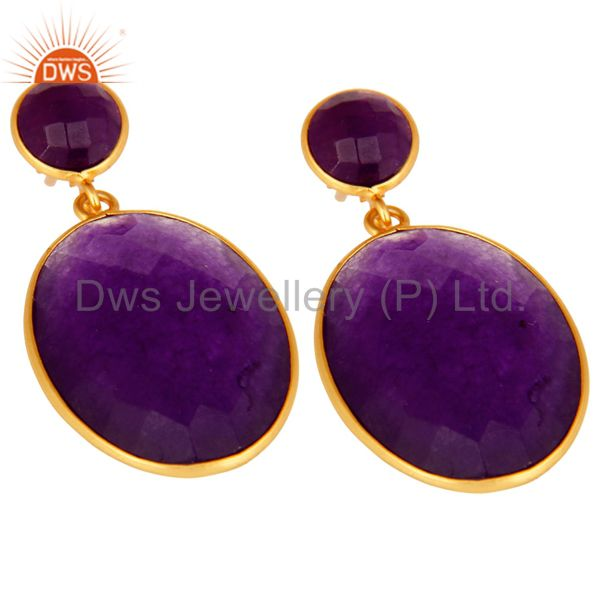 Exporter 18K Gold Over Sterling Silver Purple Chalcedony Faceted Gemstone Drop Earrings