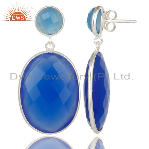 Exporter Solid 925 Sterling Silver Faceted Blue Chalcedony Bezel Set Drops Earrings