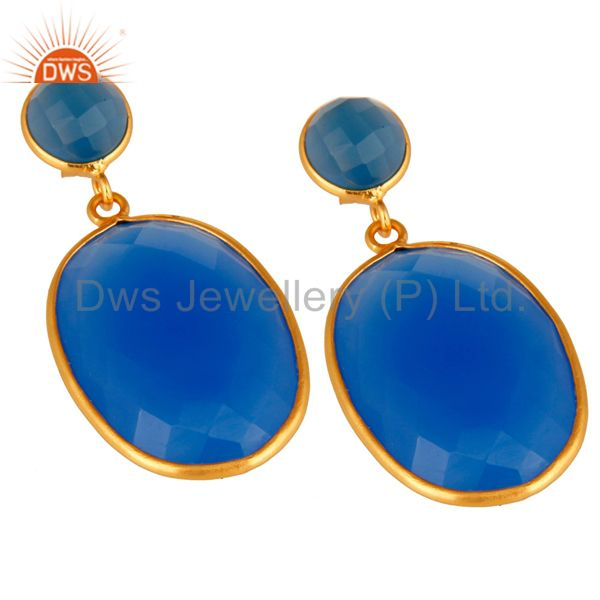 Exporter Sterling Silver Faceted Blue Chalcedony Bezel Set Drop Earrings Gold Plated