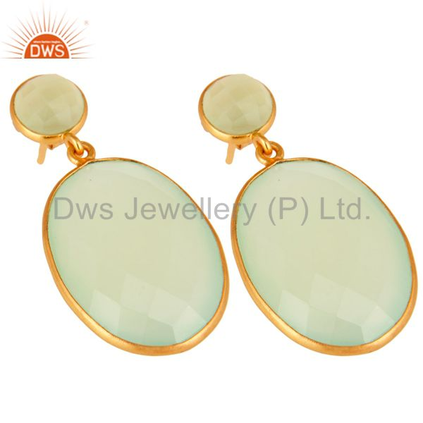 Supplier of Sterling Silver Faceted Green Prehnite Gemstone Bezel Set Drop Earrings - Gold V
