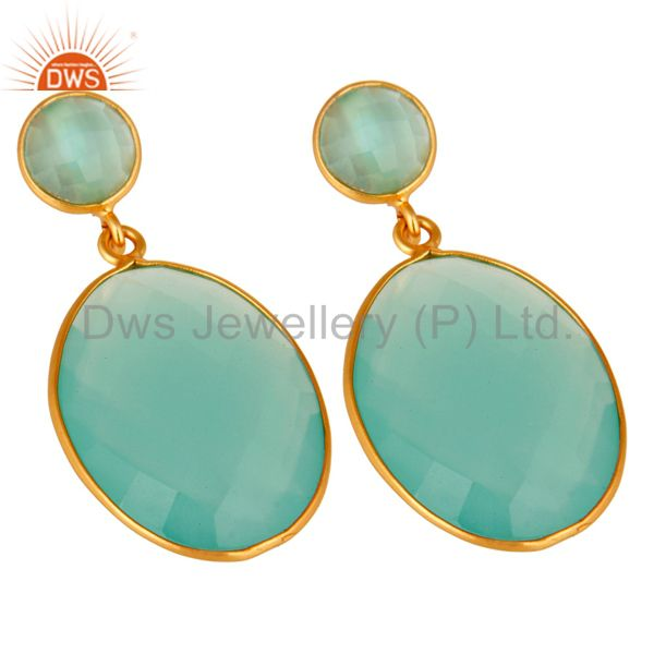 Exporter Aqua Chalcedony Gemstone Silver Gold Plated Drop Earrings Jewelry