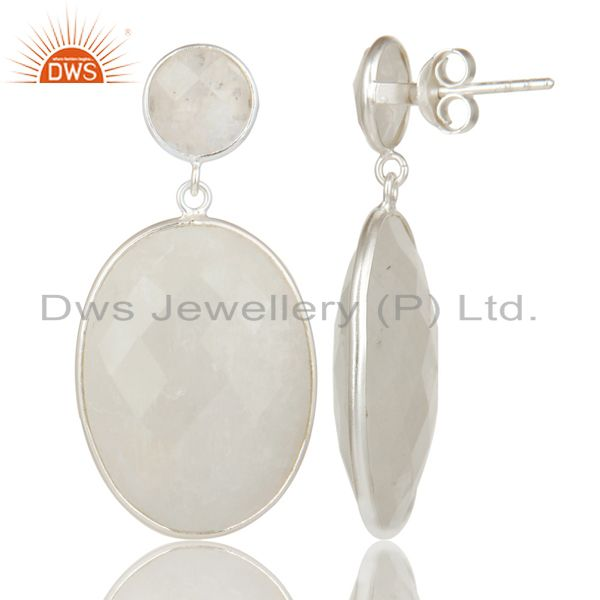Exporter Indian Solid 925 Sterling Silver Rainbow Moonstone Gemstone Drops Earrings