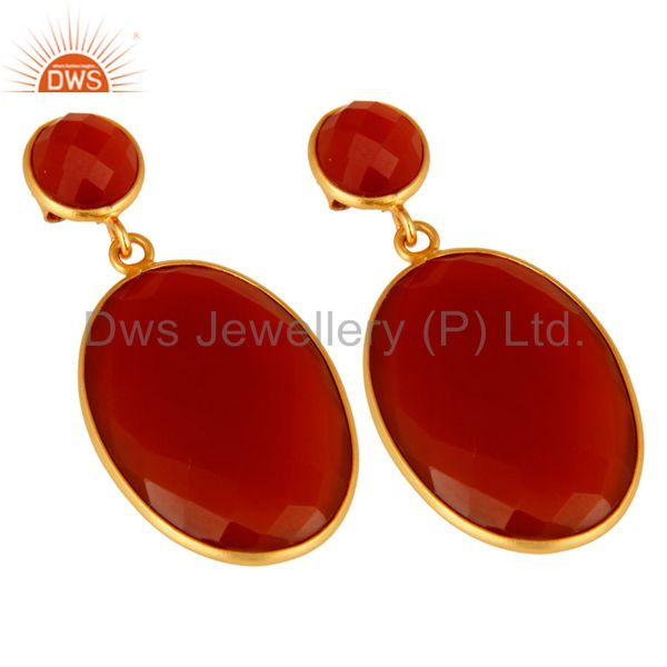 Exporter 925 Sterling Silver Faceted Gold Plated Red Onyx Gemstone Drop Earrings