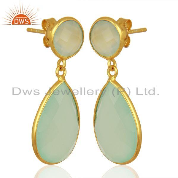 Faceted Dyed Blue Aqua Chalcedony Sterling Silver Double Drop Earrings From Jaipur India
