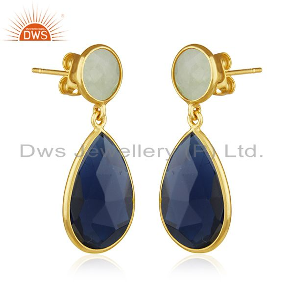 Exporter Gold Plated Brass Fashion Gemstone Earring Manufacturer of Wedding Jewelry