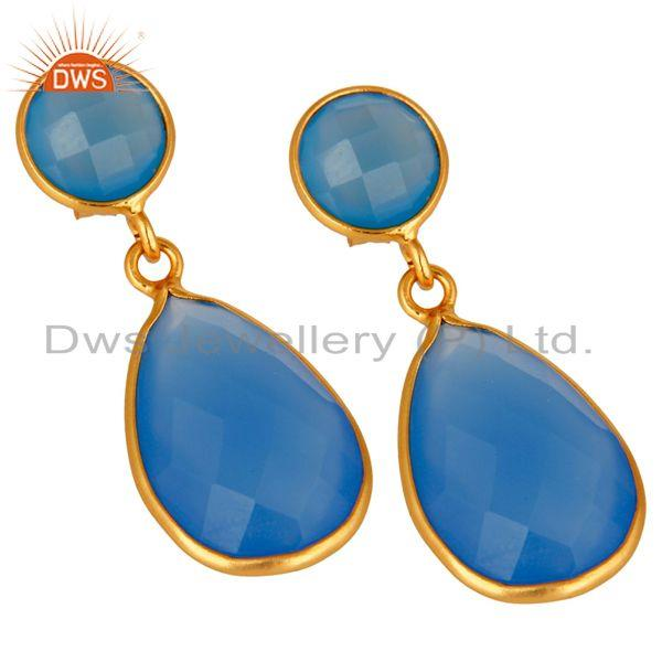 Exporter Faceted Blue Chalcedony Bezel Set Drop Earrings In 14K Gold Over Sterling Silver