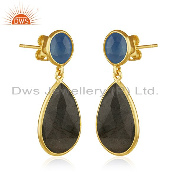 Exporter Labradorite and Blue Chalcedony Gemstone Gold Plated Fashion Earring Suppliers