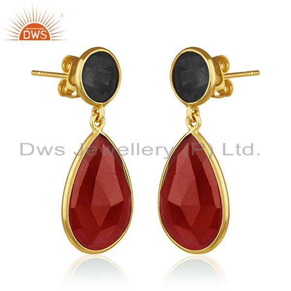 Exporter Onyx Red and Corundum Blue Gold Plated Brass Fashion Gemstone Earring Wholesaler