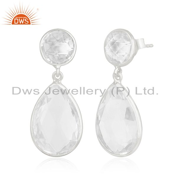 Exporter Clear Crystal Quartz 925 Sterling Silver Dangle Earring Manufacturer of Jewelry