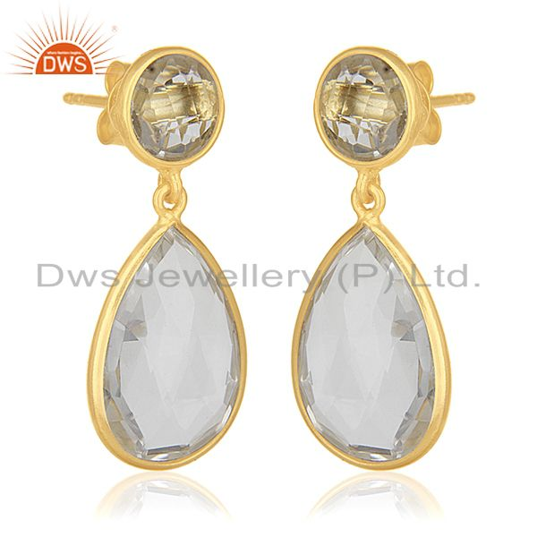 Exporter Crystal Quartz Gemstone 925 Silver GOld Plated Dangle Earrings Wholesale India