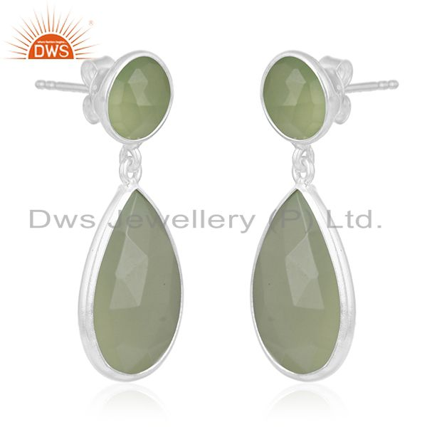 Exporter Prehnite Chalcedony Gemstone 925 Sterling Silver Earring Manufacturer of Jewelry