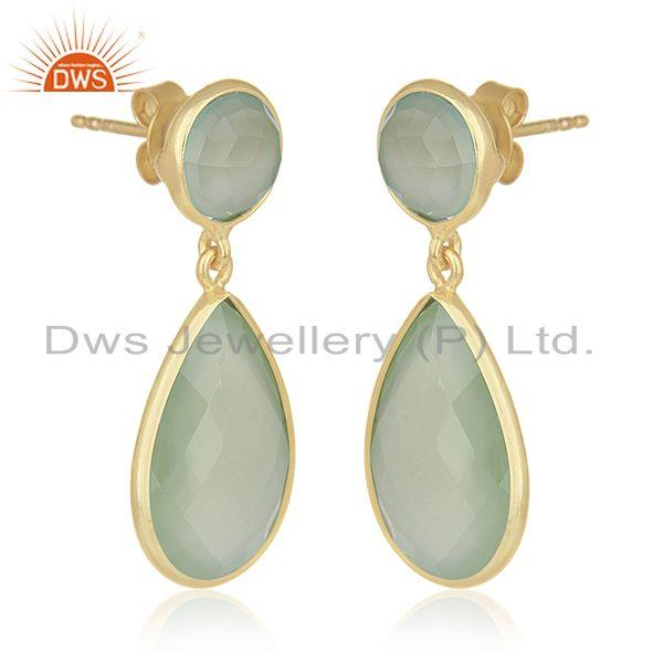 Supplier of Green Chalcedony Gemstone 925 Sterling Silver With Gold Plated Drop Earrings