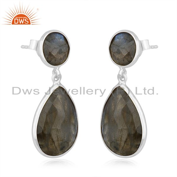 Exporter Natural Labradorite Gemstone 925 Sterling Silver Drop Earring Manufacturers