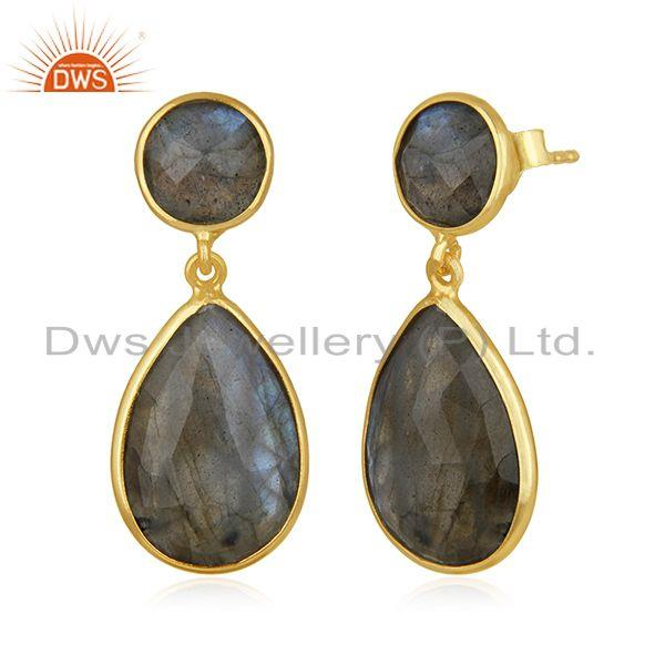 Exporter Natural Labradorite Gemstone 925 Sterling Silver Gold Plated Earring Supplier