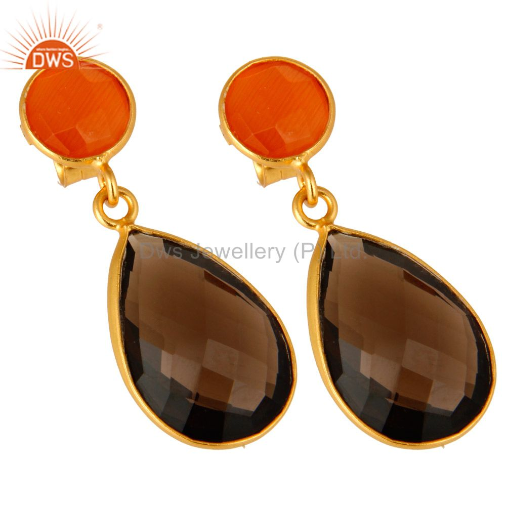 Exporter 14K Gold Plated Sterling Silver Peach Moonstone And Smoky Quartz Drop Earrings
