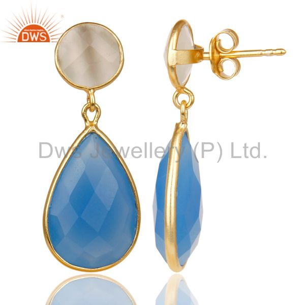 Exporter 14K Gold Plated 925 Silver Dyed Chalcedony & Moonstone Bezel Set Drops Earrings