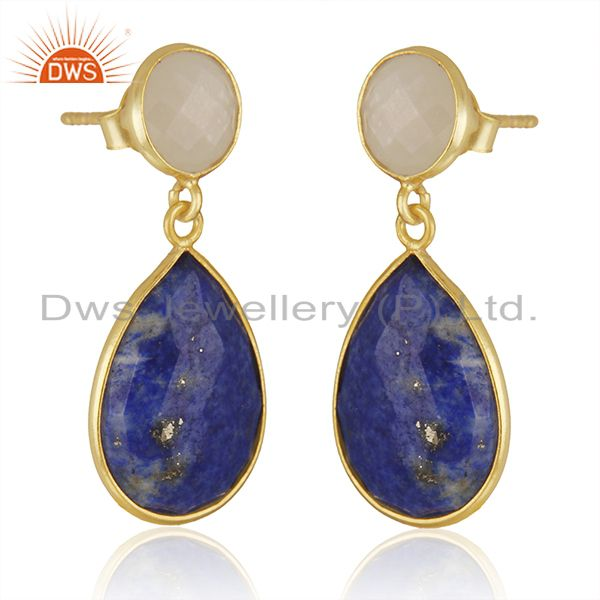 Exporter 14K Gold Plated 925 Silver Lapis Lazuli & Moonstone Bezel Set Drops Earrings